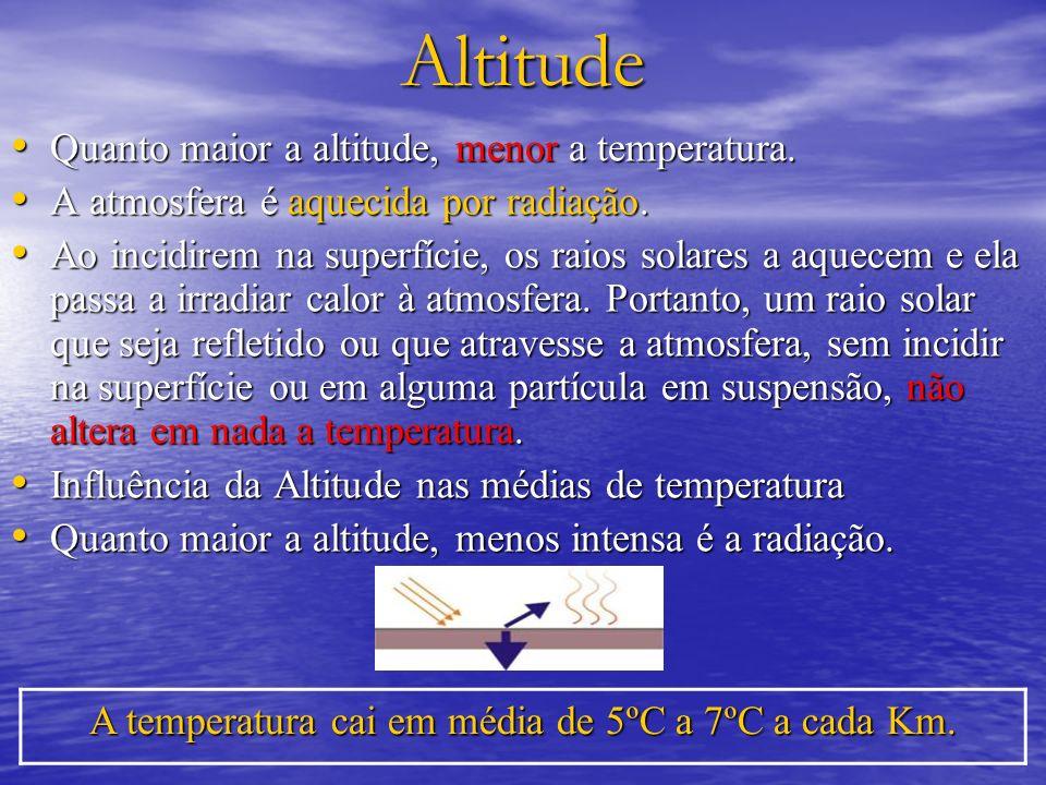 A temperatura cai em média de 5ºC a 7ºC a cada Km.