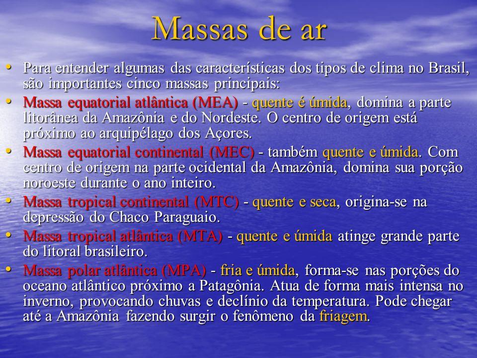 Massas de arPara entender algumas das características dos tipos de clima no Brasil, são importantes cinco massas principais: