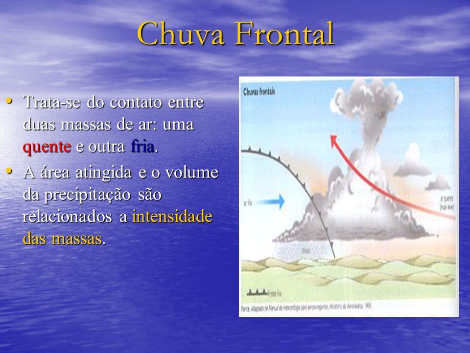 Chuva FrontalTrata-se do contato entre duas massas de ar: uma quente e outra fria.