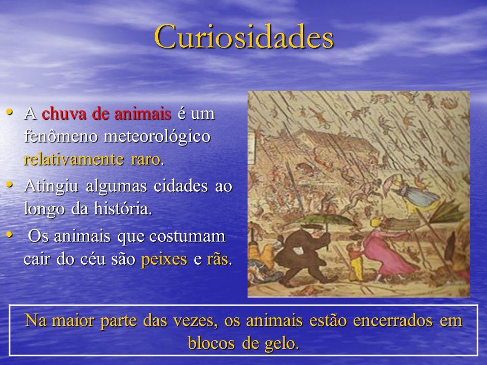 Curiosidades A chuva de animais é um fenômeno meteorológico relativamente raro. Atingiu algumas cidades ao longo da história.
