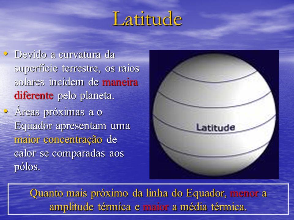 LatitudeDevido a curvatura da superfície terrestre, os raios solares incidem de maneira diferente pelo planeta.