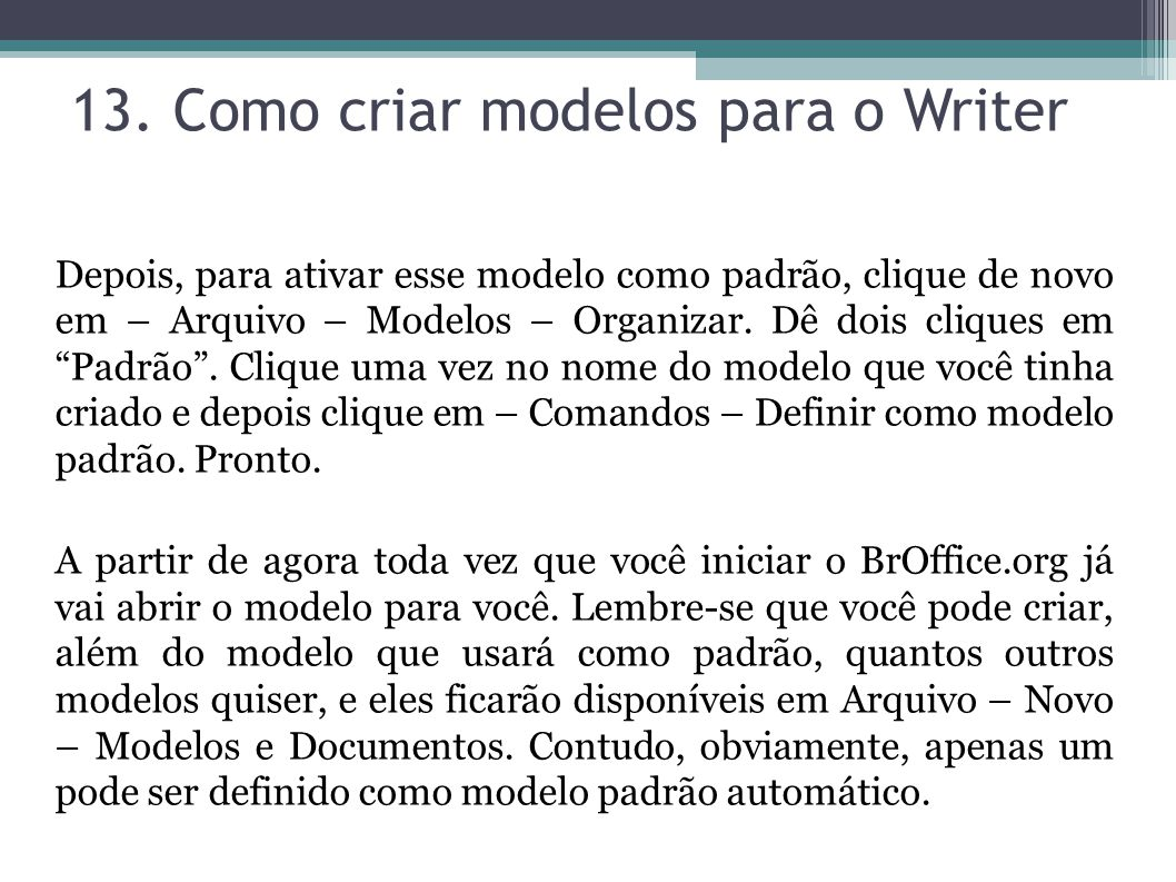 13. Como criar modelos para o Writer