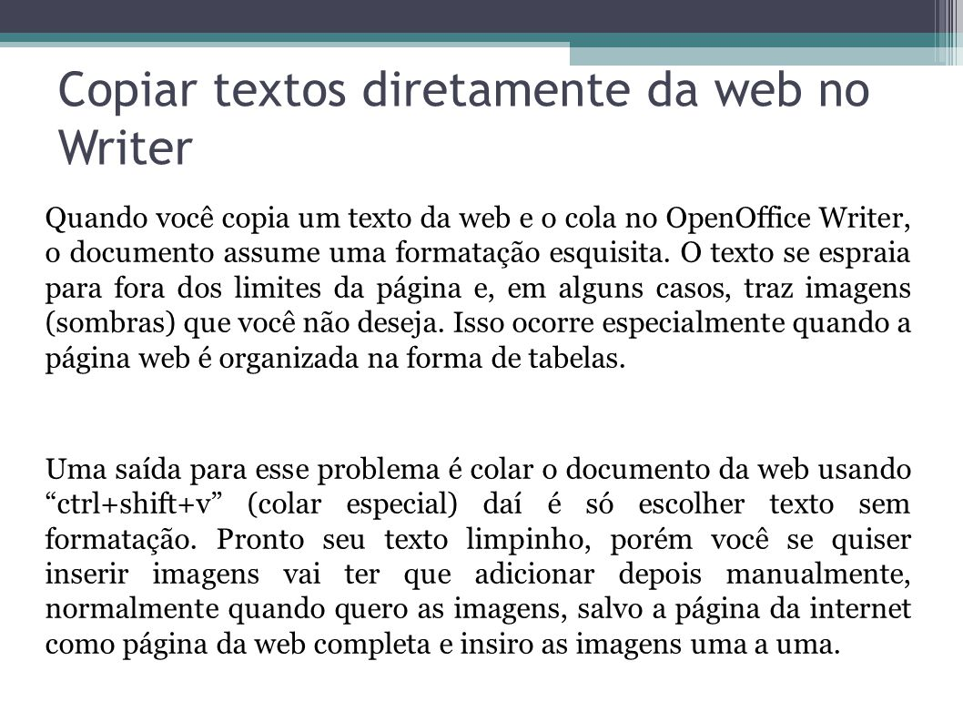 Copiar textos diretamente da web no Writer