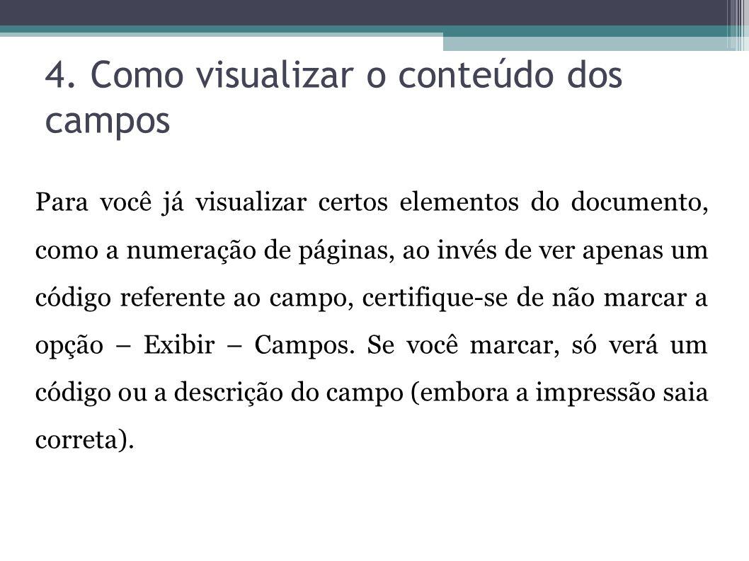 4. Como visualizar o conteúdo dos campos