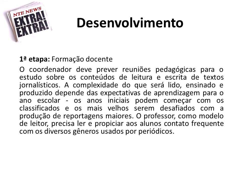 Desenvolvimento 1ª etapa: Formação docente