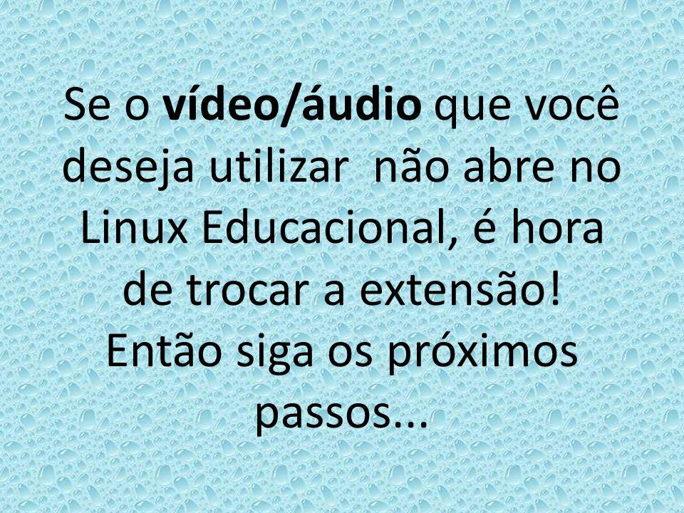 Se o vídeo/áudio que você deseja utilizar não abre no Linux Educacional, é hora de trocar a extensão.