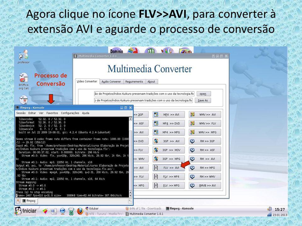 Agora clique no ícone FLV>>AVI, para converter à extensão AVI e aguarde o processo de conversãoProcesso de Conversão.