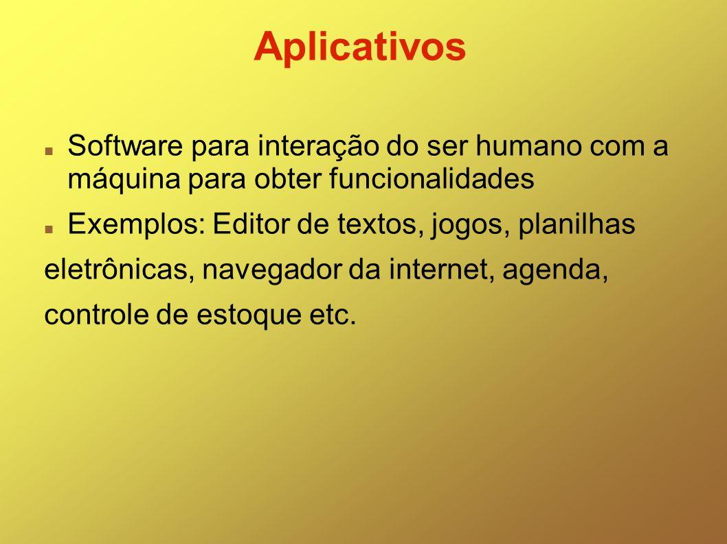 Aplicativos Software para interação do ser humano com a máquina para obter funcionalidades. Exemplos: Editor de textos, jogos, planilhas.