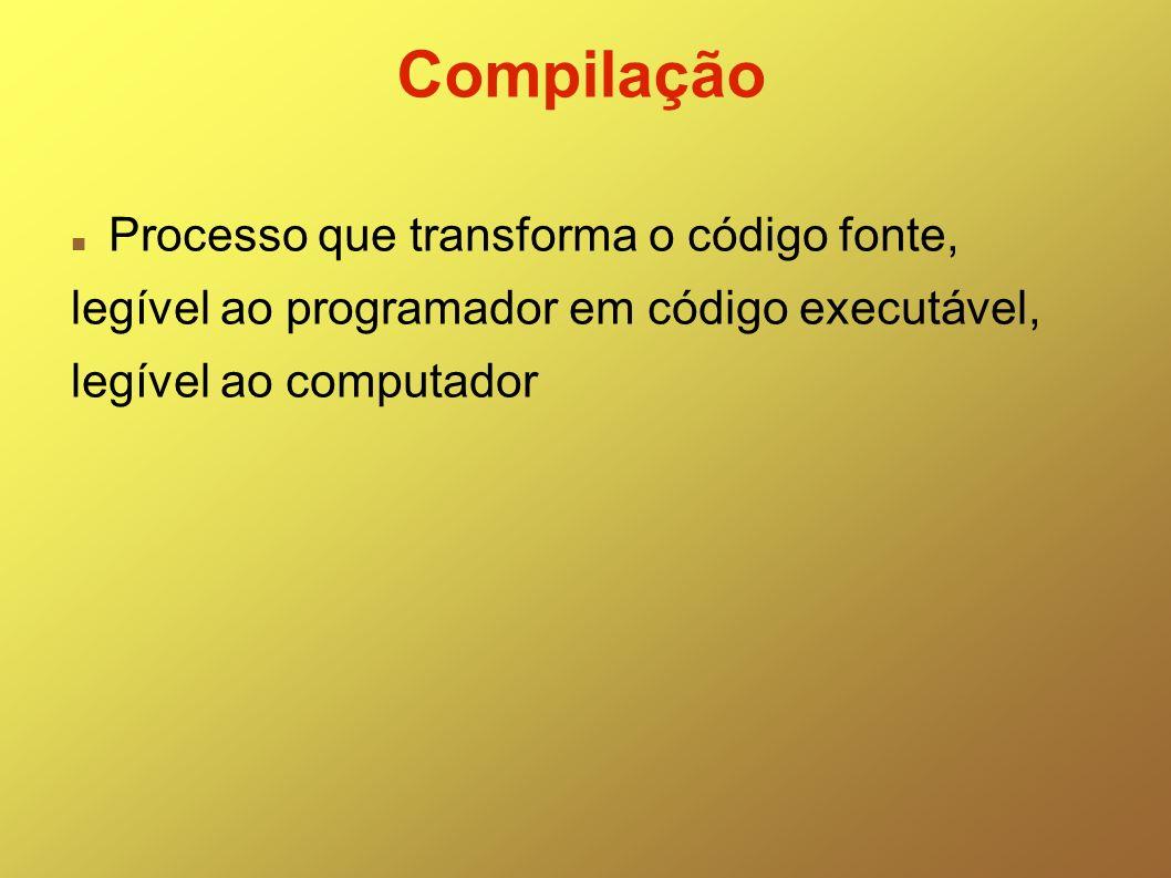 Compilação Processo que transforma o código fonte,