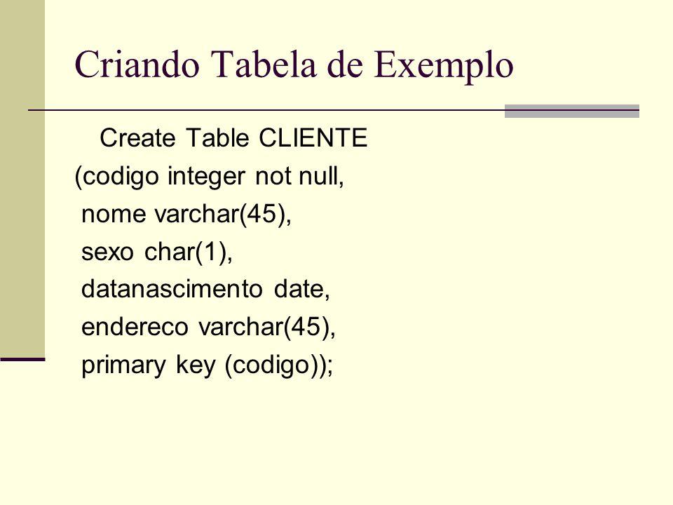 Criando Tabela de Exemplo