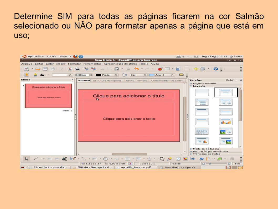 Determine SIM para todas as páginas ficarem na cor Salmão selecionado ou NÃO para formatar apenas a página que está em uso;
