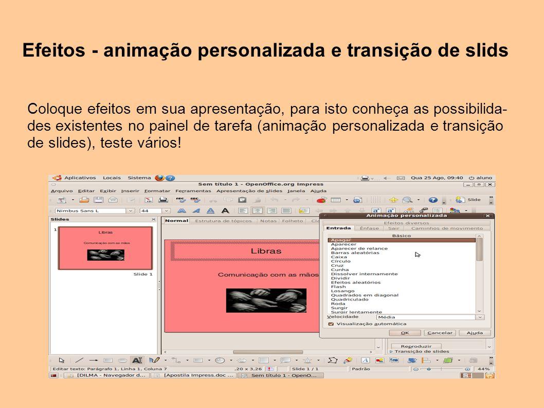 Efeitos - animação personalizada e transição de slids