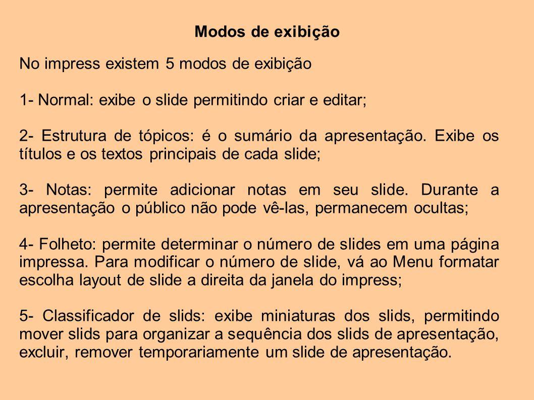 Modos de exibição No impress existem 5 modos de exibição. 1- Normal: exibe o slide permitindo criar e editar;