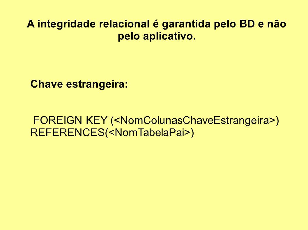 A integridade relacional é garantida pelo BD e não pelo aplicativo.