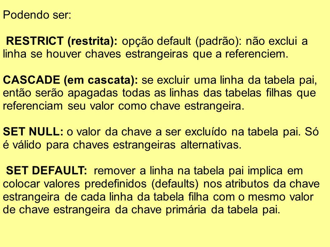 Podendo ser: RESTRICT (restrita): opção default (padrão): não exclui a linha se houver chaves estrangeiras que a referenciem.