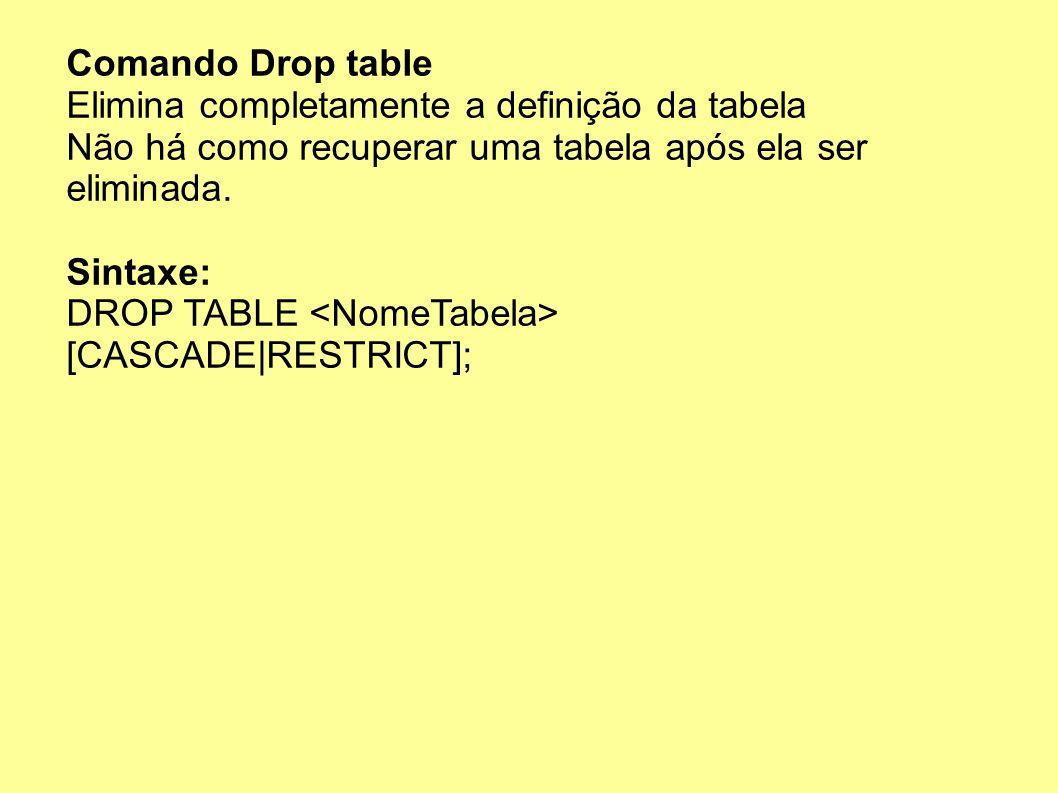 Comando Drop table Elimina completamente a definição da tabela. Não há como recuperar uma tabela após ela ser eliminada.