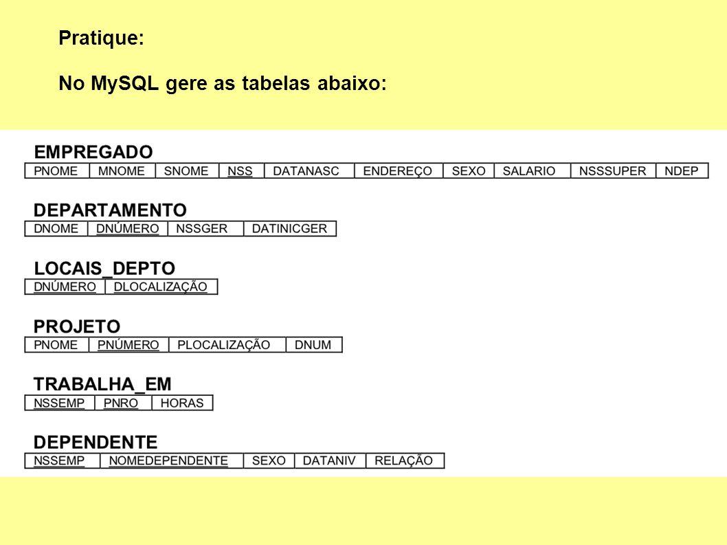 Pratique: No MySQL gere as tabelas abaixo: