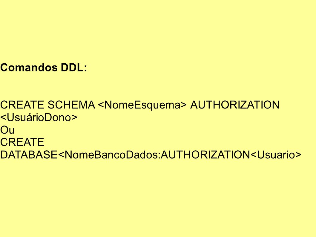 Comandos DDL: CREATE SCHEMA <NomeEsquema> AUTHORIZATION <UsuárioDono> Ou.
