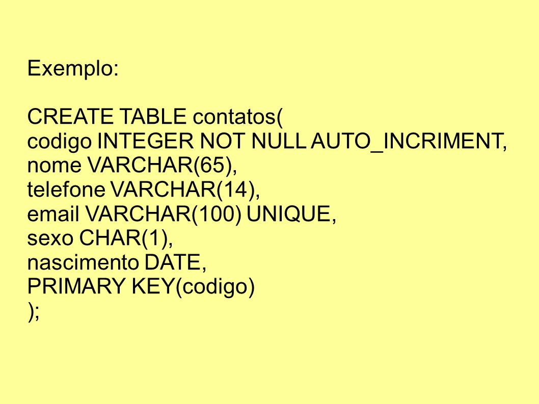 Exemplo: CREATE TABLE contatos( codigo INTEGER NOT NULL AUTO_INCRIMENT, nome VARCHAR(65), telefone VARCHAR(14),