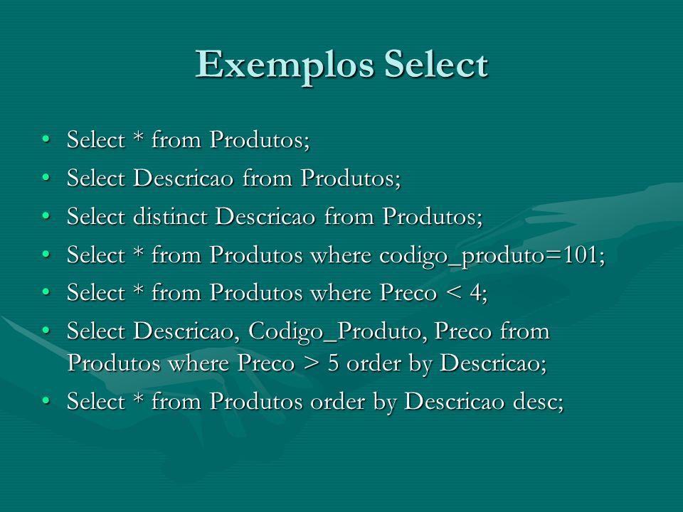 Exemplos Select Select * from Produtos;