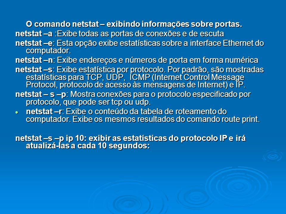 O comando netstat – exibindo informações sobre portas.