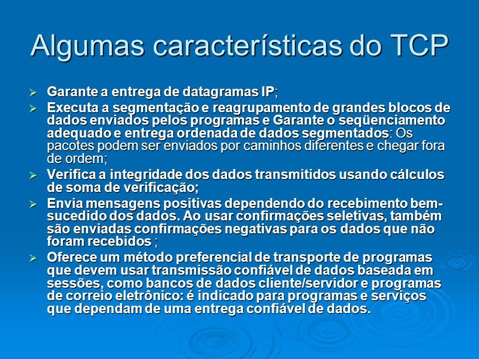 Algumas características do TCP