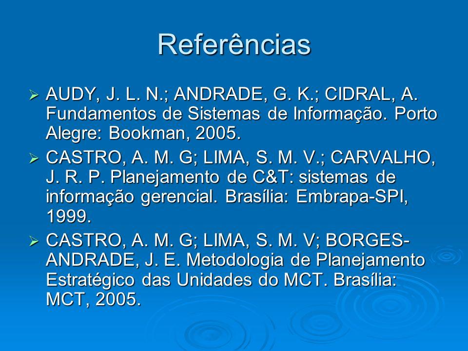 Referências AUDY, J. L. N.; ANDRADE, G. K.; CIDRAL, A. Fundamentos de Sistemas de Informação. Porto Alegre: Bookman, 2005.