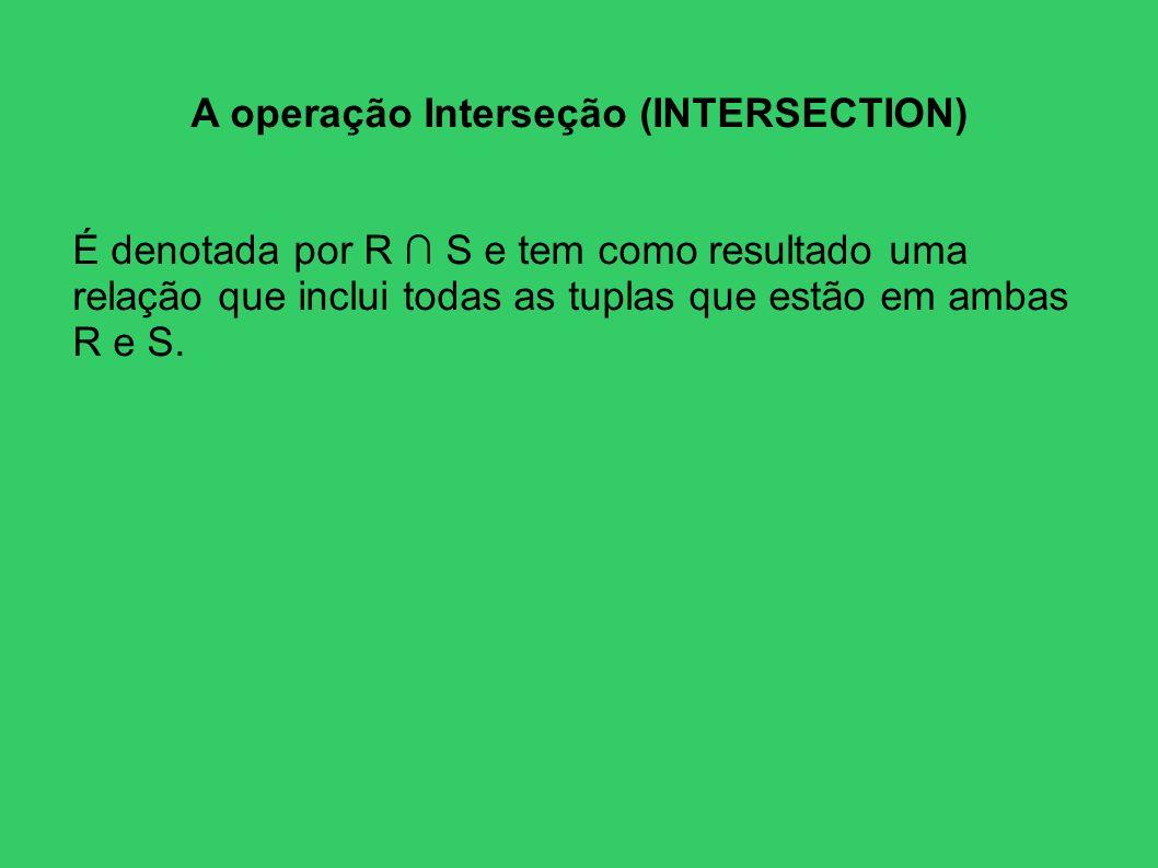 A operação Interseção (INTERSECTION)