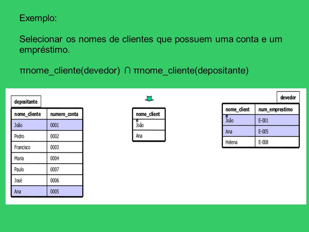 Exemplo:Selecionar os nomes de clientes que possuem uma conta e um empréstimo.