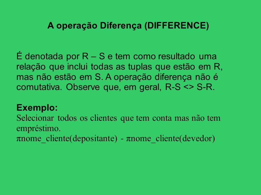 A operação Diferença (DIFFERENCE)