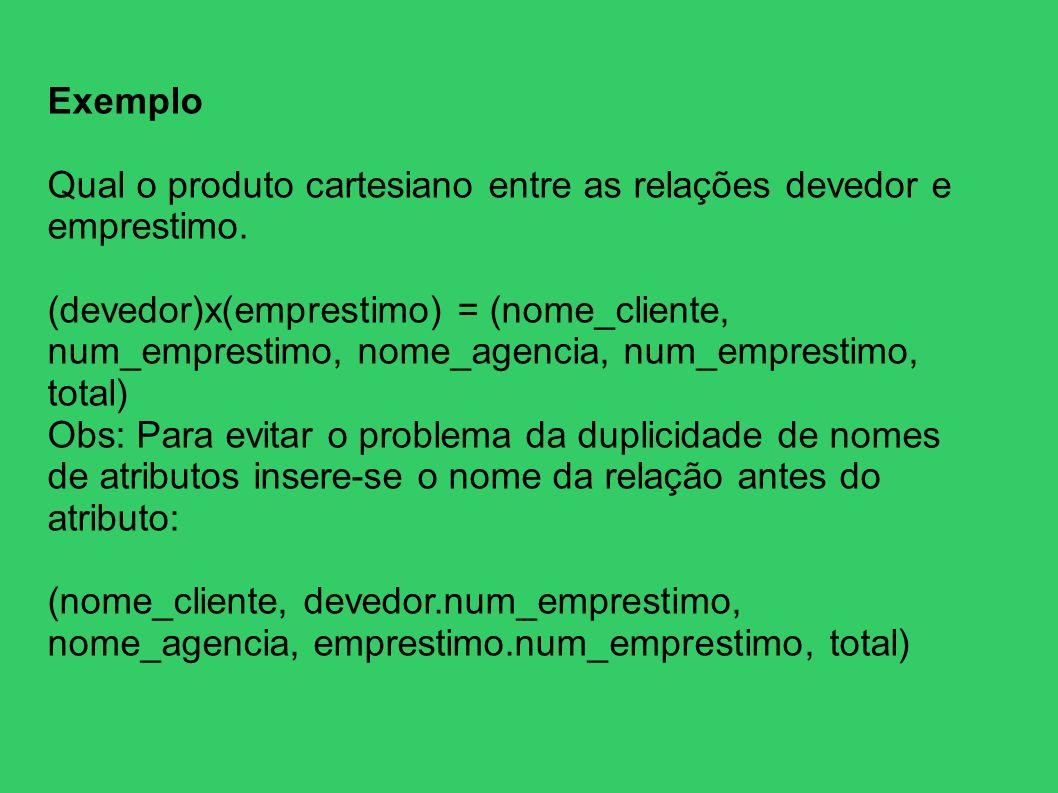 ExemploQual o produto cartesiano entre as relações devedor e emprestimo.