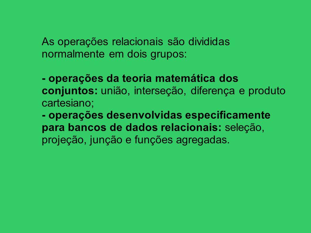 As operações relacionais são divididas normalmente em dois grupos: