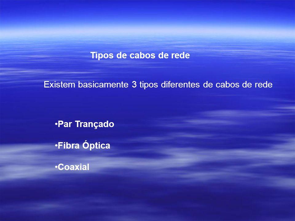 Tipos de cabos de redeExistem basicamente 3 tipos diferentes de cabos de rede. Par Trançado. Fibra Óptica.