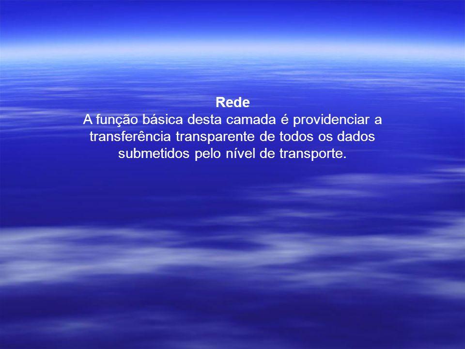 Rede A função básica desta camada é providenciar a transferência transparente de todos os dados submetidos pelo nível de transporte.