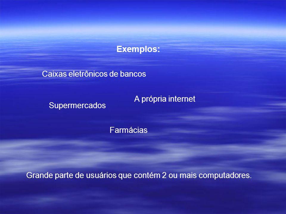 Exemplos: Caixas eletrônicos de bancos A própria internet