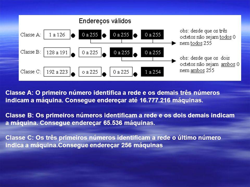 Classe A: O primeiro número identifica a rede e os demais três números indicam a máquina. Consegue endereçar até 16.777.216 máquinas.