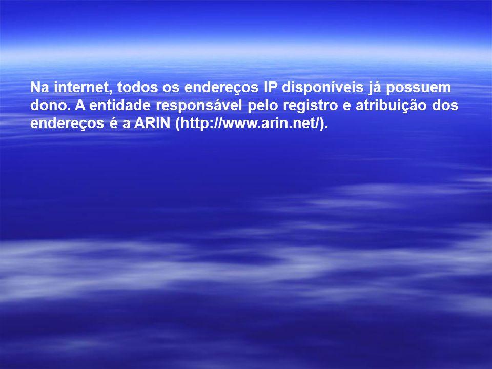 Na internet, todos os endereços IP disponíveis já possuem dono