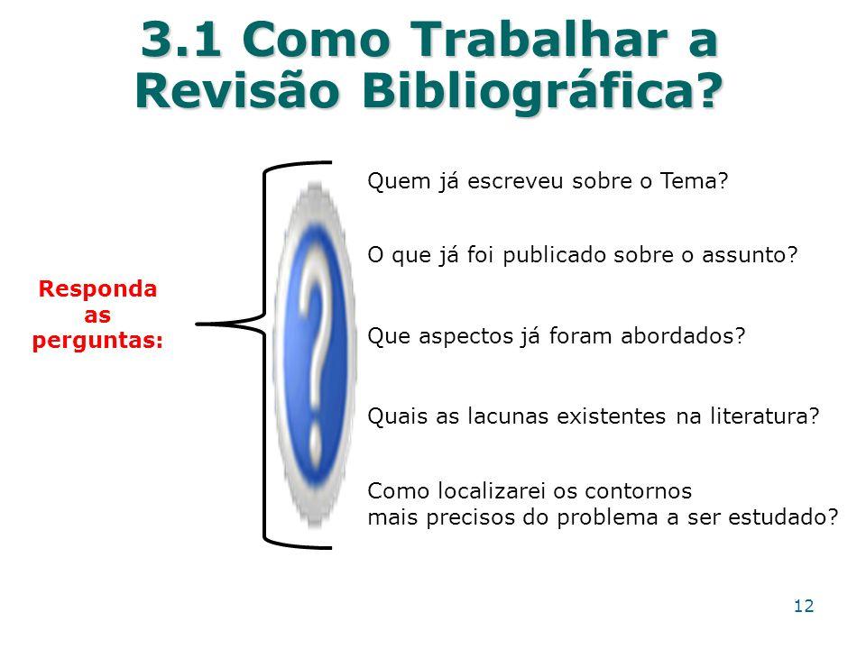 3.1 Como Trabalhar a Revisão Bibliográfica