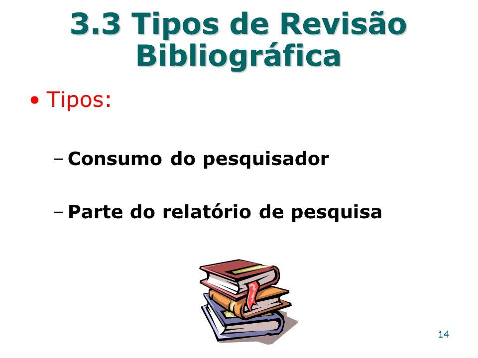 3.3 Tipos de Revisão Bibliográfica