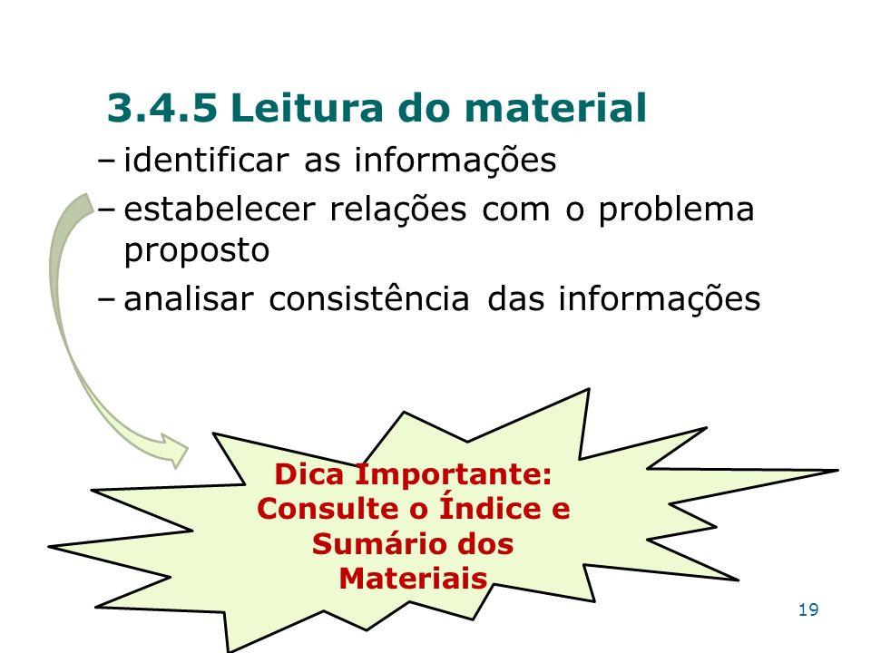 Consulte o Índice e Sumário dos Materiais