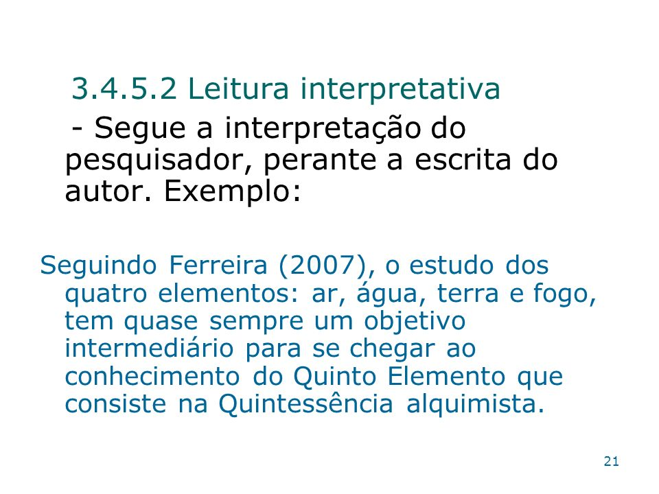 3.4.5.2 Leitura interpretativa