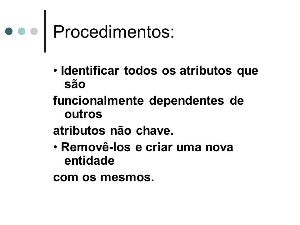 Procedimentos: • Identificar todos os atributos que são