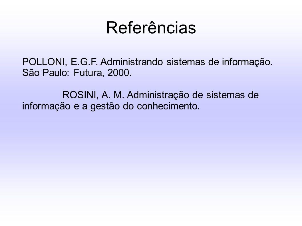 Referências POLLONI, E.G.F. Administrando sistemas de informação. São Paulo: Futura, 2000.