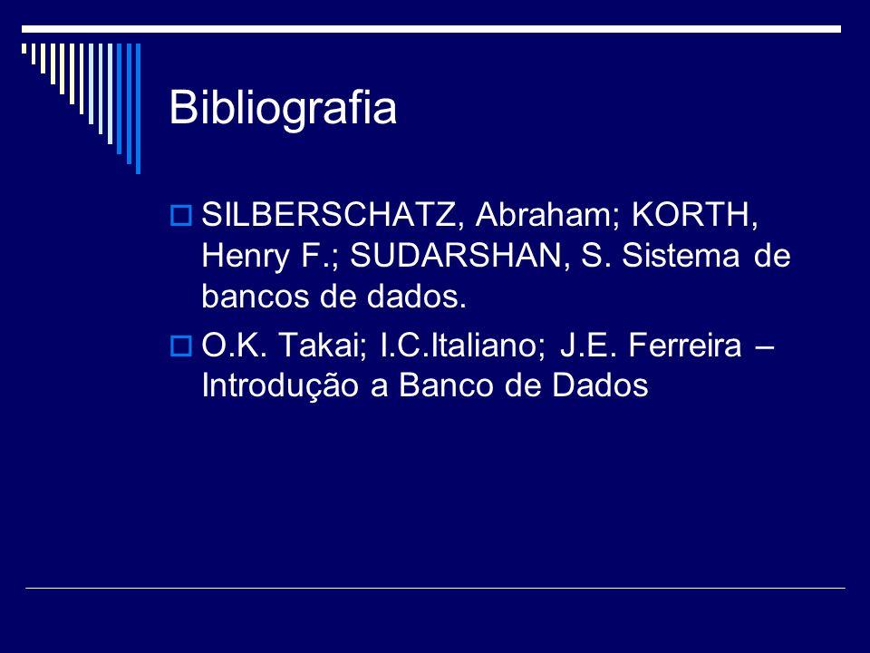Bibliografia SILBERSCHATZ, Abraham; KORTH, Henry F.; SUDARSHAN, S. Sistema de bancos de dados.