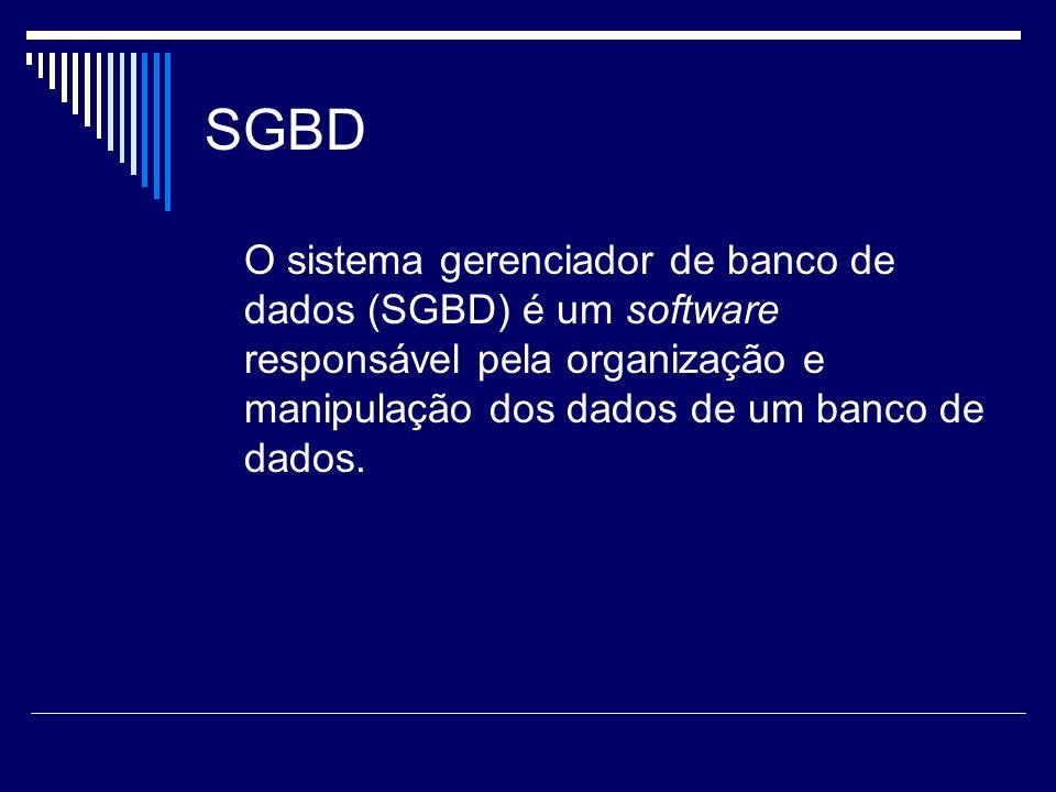 SGBD O sistema gerenciador de banco de dados (SGBD) é um software responsável pela organização e manipulação dos dados de um banco de dados.