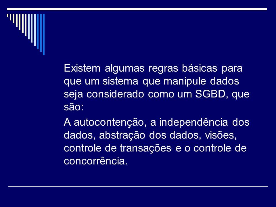 Existem algumas regras básicas para que um sistema que manipule dados seja considerado como um SGBD, que são: