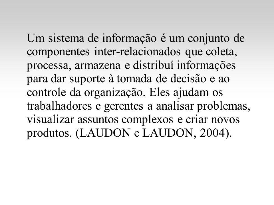 Um sistema de informação é um conjunto de componentes inter-relacionados que coleta, processa, armazena e distribuí informações para dar suporte à tomada de decisão e ao controle da organização.