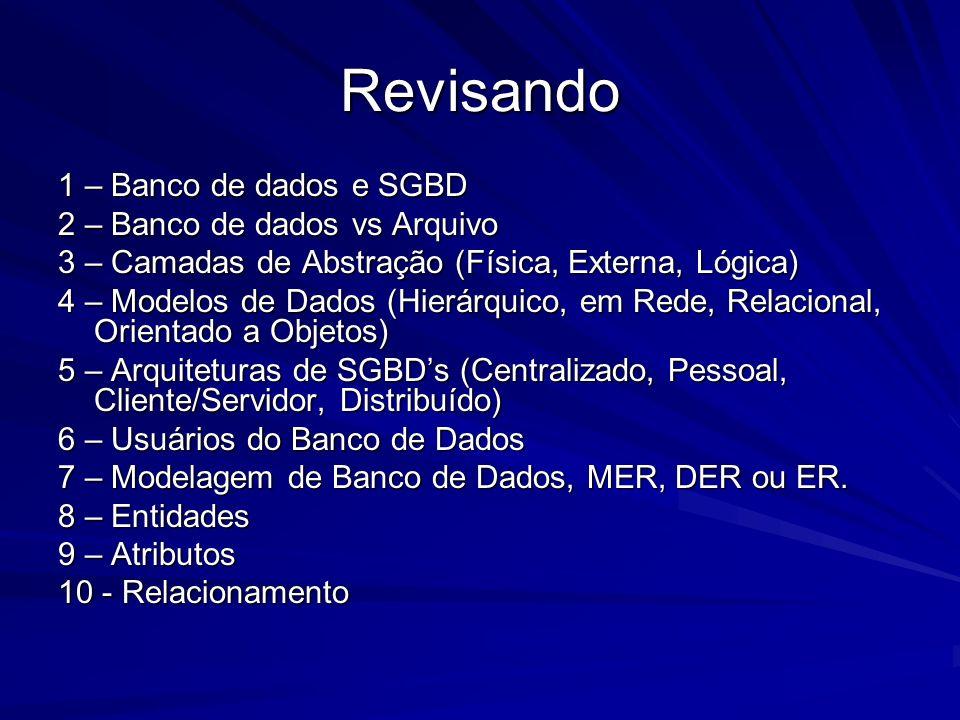 Revisando 1 – Banco de dados e SGBD 2 – Banco de dados vs Arquivo