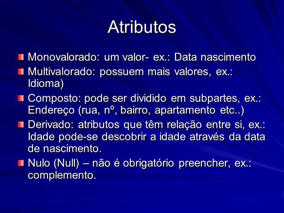 Atributos Monovalorado: um valor- ex.: Data nascimento