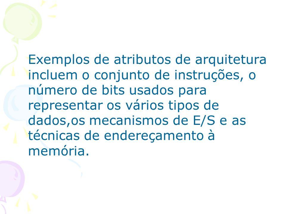 Exemplos de atributos de arquitetura incluem o conjunto de instruções, o número de bits usados para representar os vários tipos de dados,os mecanismos de E/S e as técnicas de endereçamento à memória.